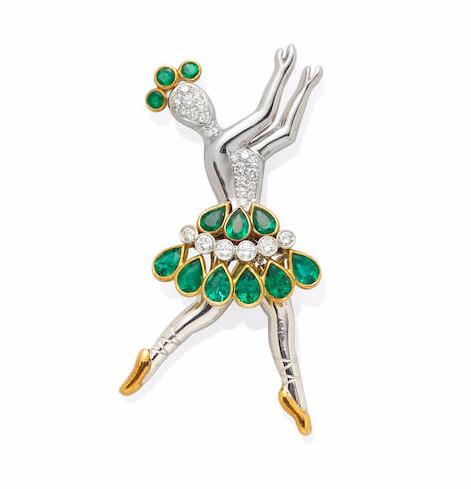 Emerald & Diamond Ballerina Brooch by Asprey
