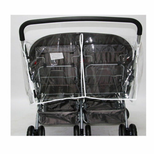 Universal Twins Baby Stroller Rain Cover Pushchair Double Front and Rear Seats
