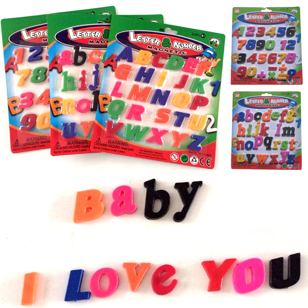 Fridge magnetic alphabet letters a z and or numbers 0 9 for Magnetic letters for babies