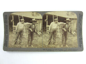 Antique-Vtg-1904-Stereo-view-Card-African-American-Black-Man-Boy-Chicken