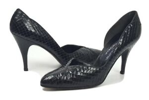 Stuart-Weitzman-for-Martinique-shoes-7-black-snakeskin-d-039-orsay-pumps-VTG