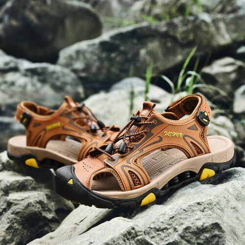 Men/'s Genuine Leather Outdoor Sandals Breathable Hiking Walking Casual Shoes NEW