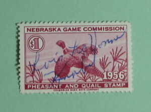 1956 Nebraska Game Bird Habitat Quail Hunting Stamp LicenseFree