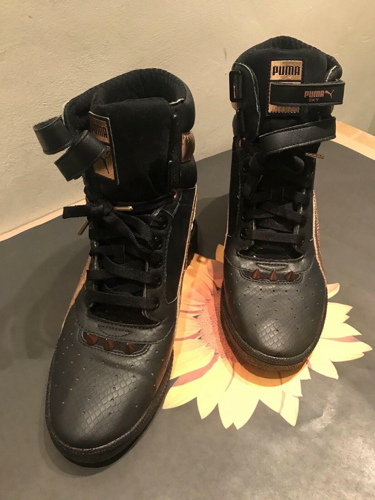 Women's Black Puma Sky Wedge Spikestud Hidden Wedge Hightop Sneaker