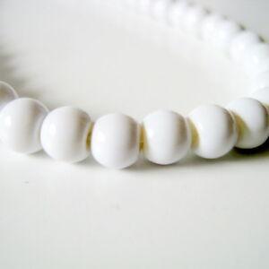 40-White-Round-Glass-Beads-6mm-Jewelry-Making-Supplies-Beads