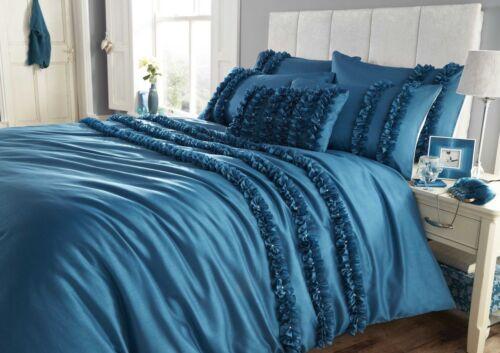 Lille Diamante Detail Ruffle Faux Silk Duvet Cover//Quilt Cover Set Bedding Bed