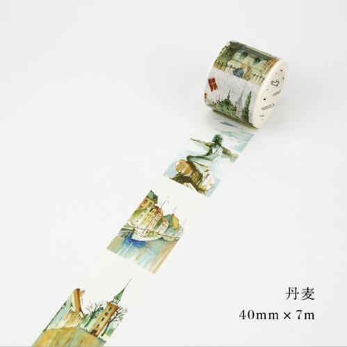 Hágalo usted mismo 7M Decoración Pegatinas de Papel Washi Cinta paisaje arquitectónico cinta 4cm