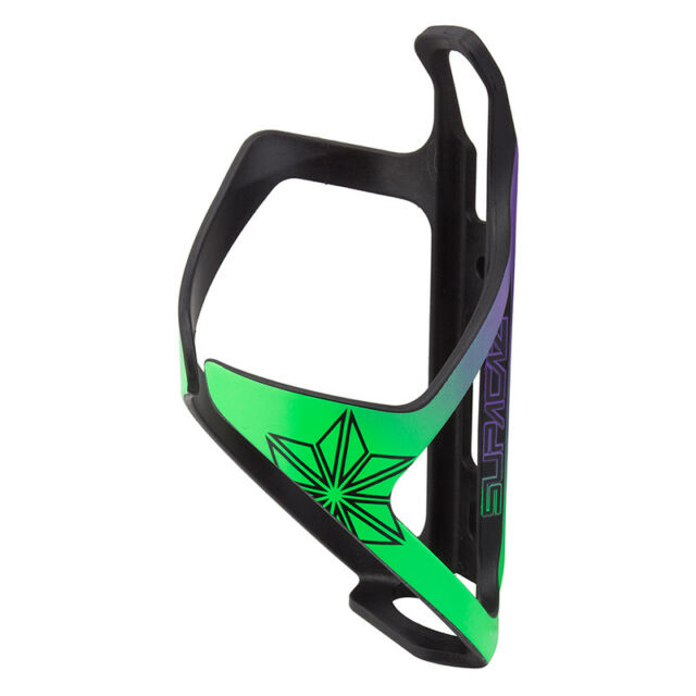 SUPACAZ TRON COMPOSITE SIDE LOAD RIGHT HAND NEON GREEN//PURPLE WATER BOTTLE CAGE