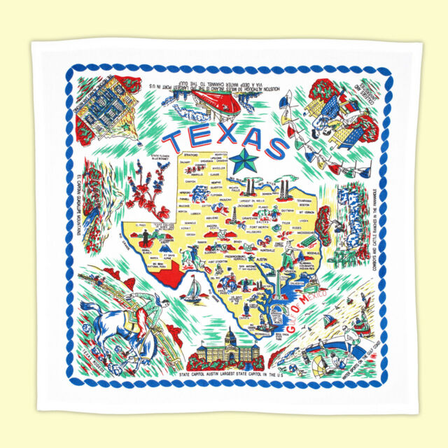 Texas State Map Souvenir Kitchen Towel For Sale Online Ebay