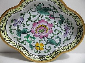 """Vintage Chinese Enameled Copper PIN TRAY Plate FLOWERS 4.25"""""""
