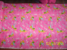 Disney Tinker Bell Keys and Butterflies on Pink Flannel fabric by the 1/2 yard