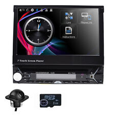 Camera Dash Radio GPS Single DIN Flip Out 7 inch Touch UI DVD CD Car Stereo