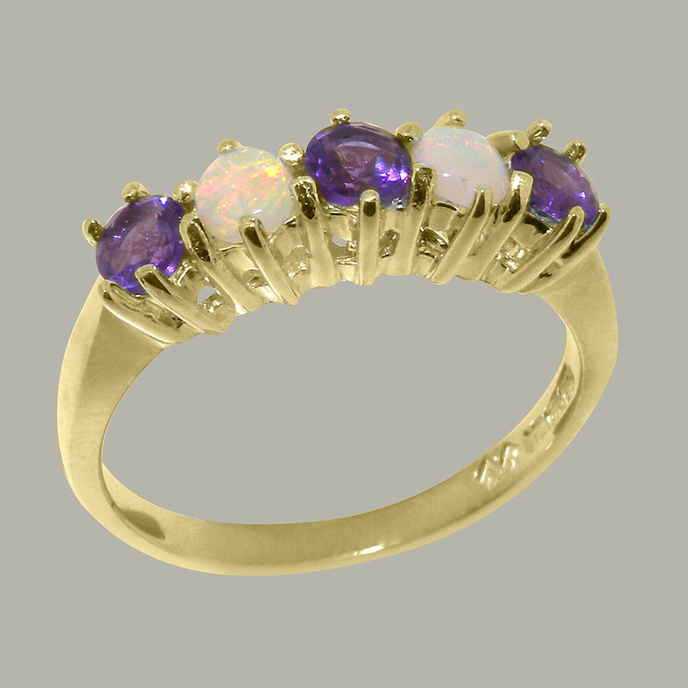 18k Yellow gold Natural Amethyst & Opal Womens Eternity Ring - Sizes 4 to 12
