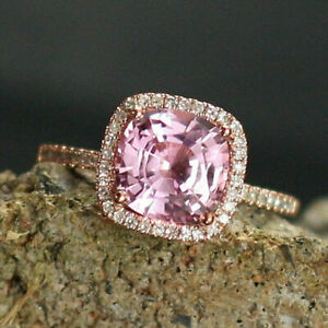 2.69 Carat Natural Diamond Pink Sapphire Ring 14K Solid White Gold Size L M N P