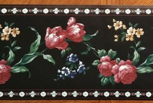 Classic Village Wallcovering Black Background With Flowers Wallpaper Border