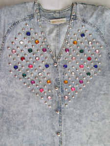 Vintage-3X-Monique-Fashions-Acid-Wash-Denim-Top-with-Baubles-and-Rhinestones