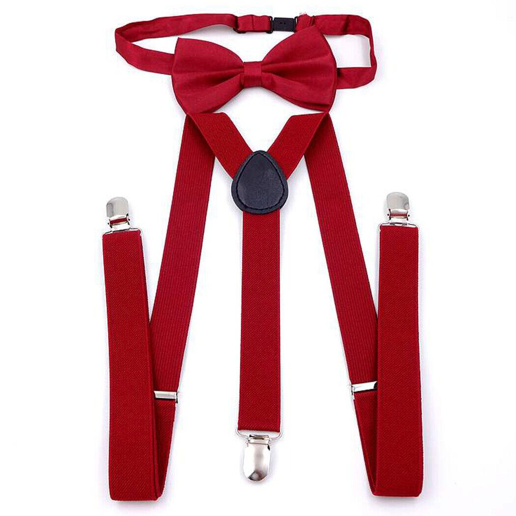 RED WINE Men's Pre-Tied Adjustable Bowtie with Y-Back Clip Suspenders Set Prom