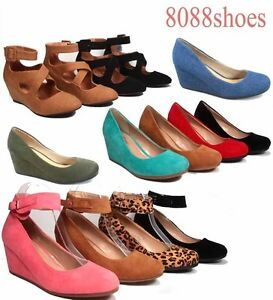 Women-039-s-Cute-Causal-Round-Toe-Low-Wedge-Platform-Heel-Shoe-All-Size-5-10-NEW