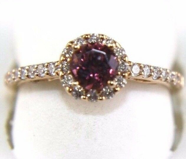 Round Pink Tourmaline Gemstone Ring w Diamond Accents 14k Yellow gold .94Ct
