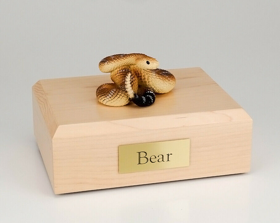 Rattlesnake Figurine Wildlife Cremation Urn Available in 3 Dif. colors & 4 Sizes