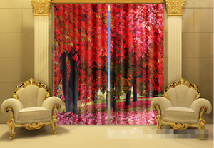 3D Hoja de Arce 34 Cortinas de impresión de cortina de foto Blockout Tela Cortinas Ventana Reino Unido