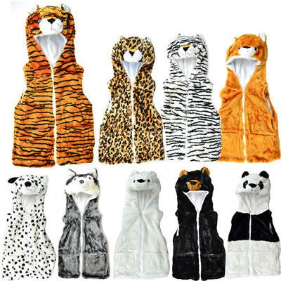** Giacca Animale Tasche Foderato In Felpa Con Cappuccio Gilet Zip Pelliccia Inverno Bambini Cappelli Corpo-mostra Il Titolo Originale