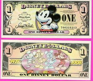 """One 2008 /""""T/"""" Series Mickey Mouse /""""MICKEY 1928 to 2008-80th-Disney Dollar Dollars"""
