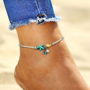 Sommer Strand Fu/ßSchmuck Damen Muschel Strand Fu/ß Kette Muschel Sandale Fu/ßkettchen Perlen Armband Schmuck
