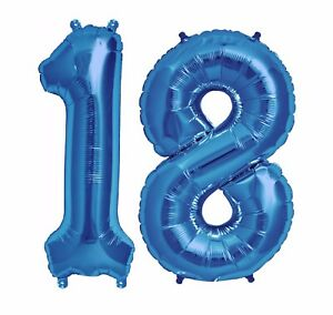 Image Is Loading Big 40 034 18 Blue Foil Number Balloons
