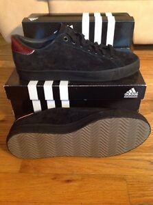 Rare Adidas Rod Laver Black Suede Fur Tennis Shoes Men s 9.5 Skate ... ecc625cca