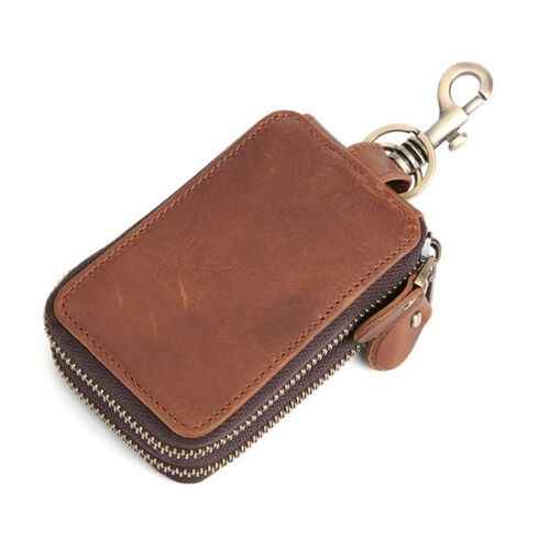 Genuine Leather Double Zipper Keychain Keyring Key Hook Wallet Men Car Key Bag