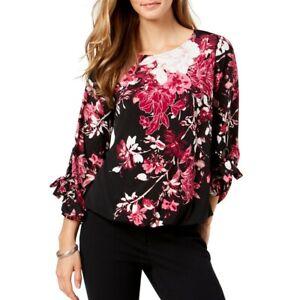 ALFANI-NEW-Women-039-s-Printed-Grommet-sleeve-Bubble-Blouse-Shirt-Top-TEDO