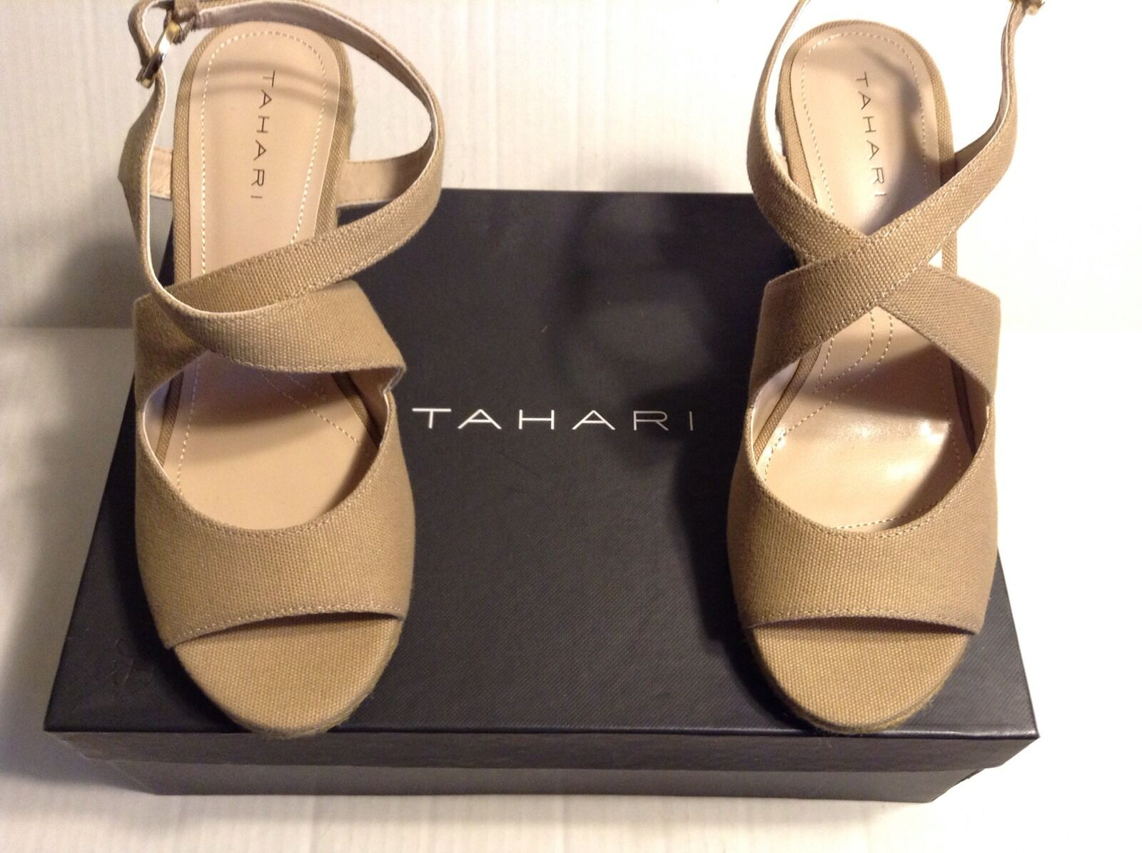Adorable Tahari New W Box Natural Toile TALONS COMPENSES Taille 7B