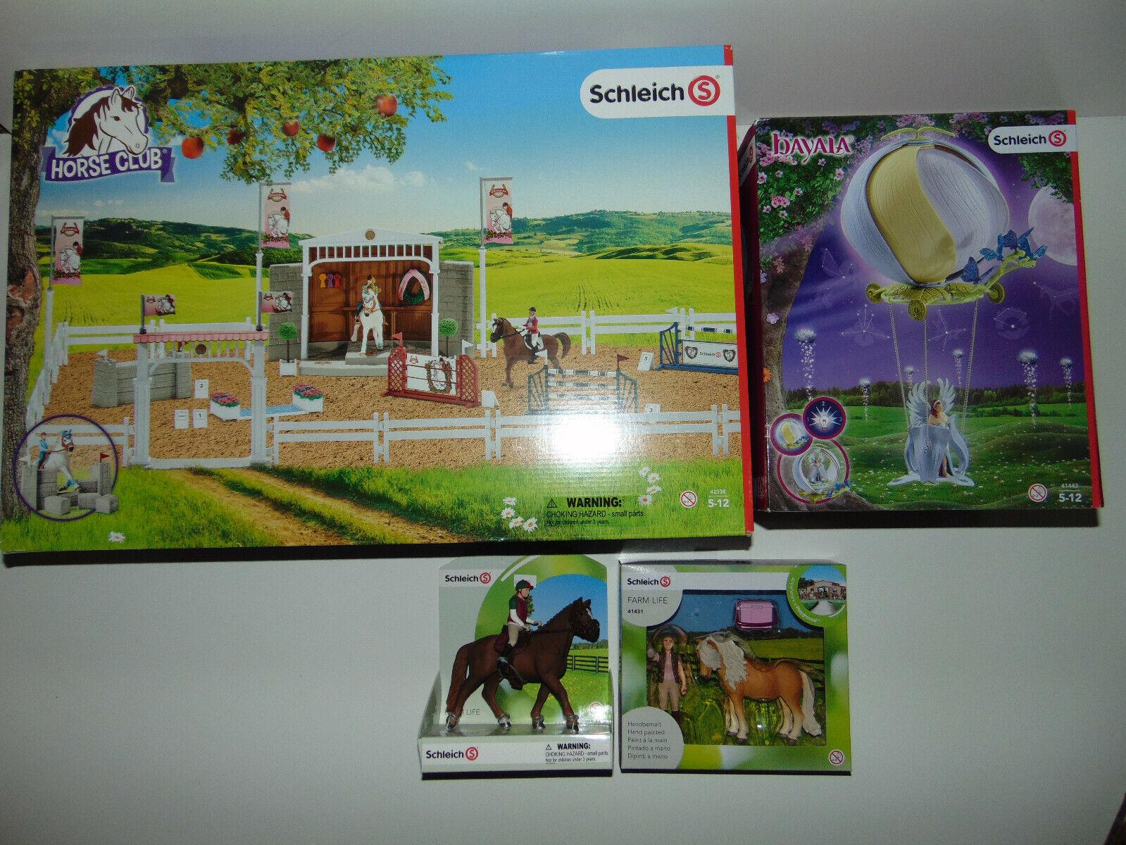 Schleich Farm Animals Playset 42338 HORSE CLUB + 41443 + 42288 + 41431 Lot  NEW