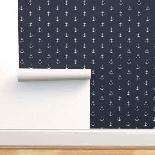 Wallpaper Roll Anchors Nautical Anchor Navy Blue Modern Nursery 24in x 27ft