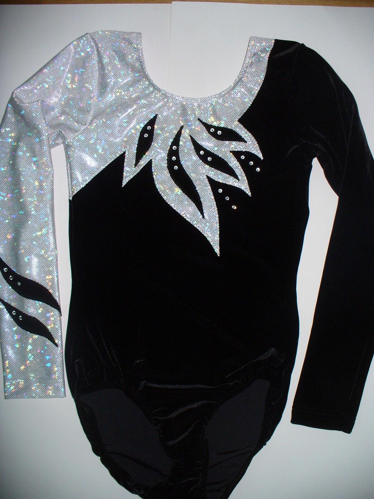 Turnanzug,Gymnastikanzug LM-14 Schwarz Weiß mit Ärmeln