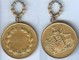 CompéTent Médaille Souvenir - Exposition Industrielle Commerciale Maritime 1883 Bronze Dor