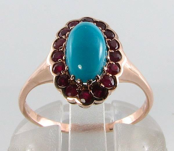 LONG 9K 9CT pink gold PERSIAN TURQUOISE & RUBY CLUSTER RING FREE RESIZE