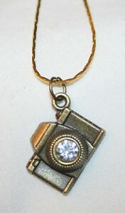 Sculpted-Brasstone-Camera-Figural-Rhinestone-Photography-Necklace