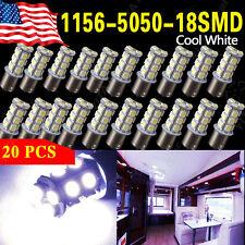 20x Cool White 1156 BA15S 18smd RV Camper Trailer Backup Reverse LED Light Bulbs