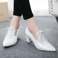c85736bcf460 item 2 New Womens Patent Leather Shoes Lace up Pointy Toe Block Heel shoes  Casual Pumps -New Womens Patent Leather Shoes Lace up Pointy Toe Block Heel  shoes ...
