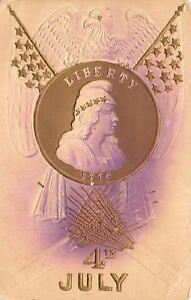 Patriotic-July-4-Eagle-on-Flags-Gold-Lady-Liberty-Dollar-Fire-Cracker-Airbrushed