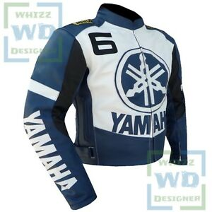 Details About Yamaha 6 Blue Racing Coat Armoured Cowhide Leather Motorcycle Jackets On Sale
