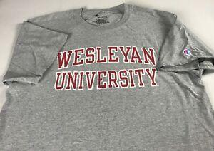 Wesleyan-T-Shirt-Adult-SZ-M-L-Champion-Student-Alumni-Graduate-University-Gray