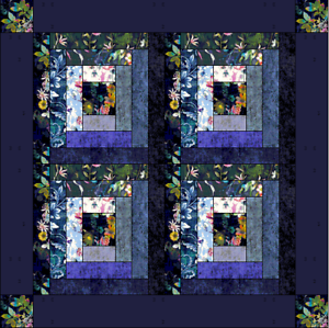 Log Cabin Floral Quilt Pattern 50 x 50 cm size