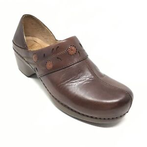 Women-039-s-Dansko-Clogs-Loafers-Shoes-Size-39-EU-8-5-9-US-Brown-Leather-Nurse-AF10