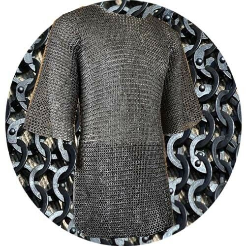 Details about  /Halloween GiftFlat Riveted Flat Washer Chain mail 9 mm M Size Half Sleeve Black