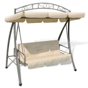 Image Is Loading Outdoor Swing Chair Canopy White Patio Sofa Bed