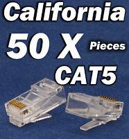 50 X pcs RJ45 Plug Cat5 Modular LAN Network Connector Internet Ethernet Cable 5E