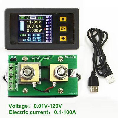 DC 0-120V 0-100A LCD Digital Wireless Voltage Current Power Capacity Watt Meter